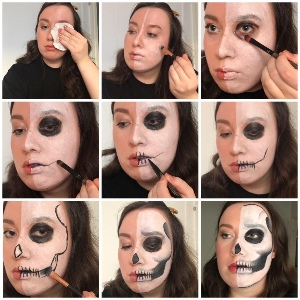 Helppo Halloween-meikki: puolikas pääkallo kuvalliset ohjeet